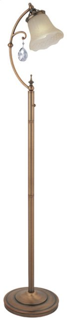 Floor Lamp - Brushed Copper/amber Glass, E27 Cfl 23w Product Image