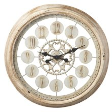 Distressed White Wall Clock round shape