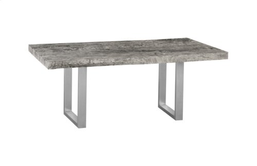 Live Edge Dining Table, Chamcha Wood, Grey Stone, Brushed Stainless Steel Legs