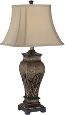 Table Lamp - Aged Silver/two Tone Fabric Shade, E27 Cfl 23w Product Image
