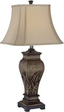 Table Lamp - Aged Silver/two Tone Fabric Shade, E27 Cfl 23w