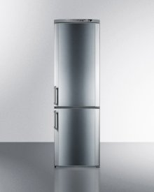 """Counter depth bottom freezer refrigerator in 24"""" footprint, with frost-free operation, icemaker, stainless steel doors, and digital controls"""