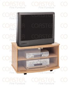 STAND/TV W/GLS DOORS/ON CASTERS WOOD OAK/F