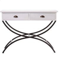 White Console Table with Drawers & Curved Legs. Product Image