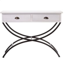 White Console Table with Drawers & Curved Legs.