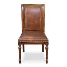 Jupe Side Chair,Walnut W/Brn Lthr