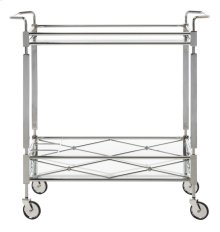 Ingrid 2 Tier Rectangle Bar Cart - Chrome