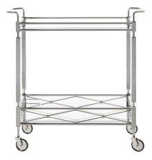 Ingrid 2 Tier Rectangle Bar Cart - Chrome