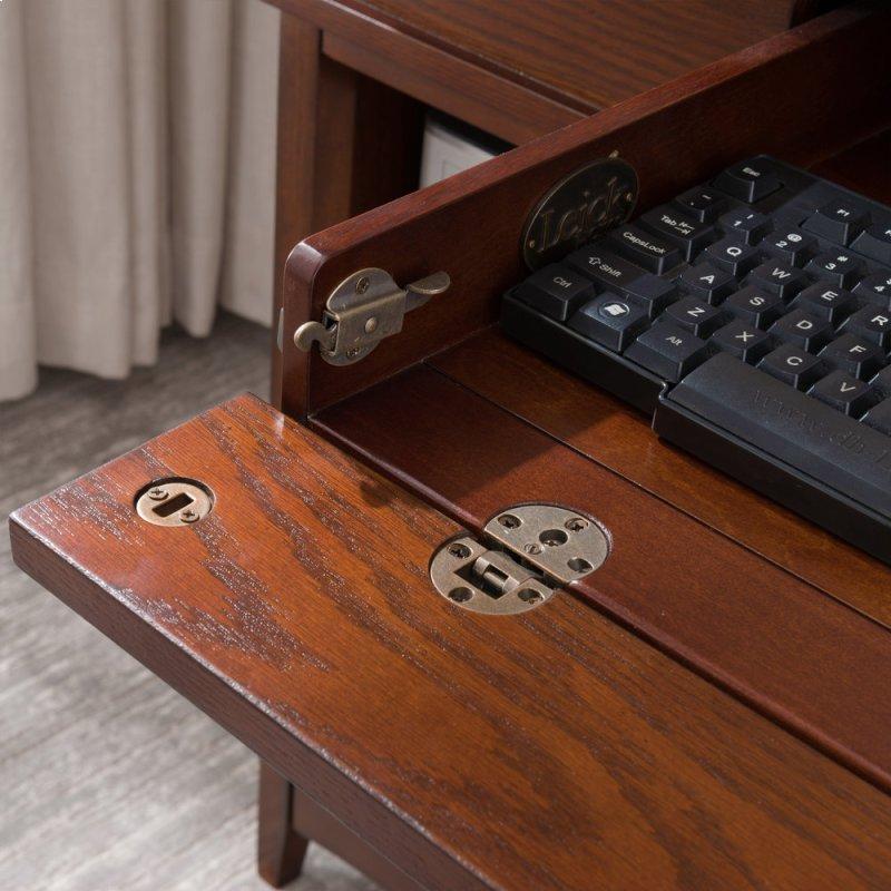Mission Oak Tower Desktop Pc Pier Base Desk With Center Drawer 82402