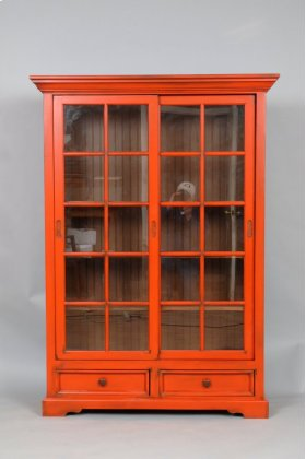 "#469 Sliding Door Bookcase w/ Drawers 46""wx14""dx64""h"