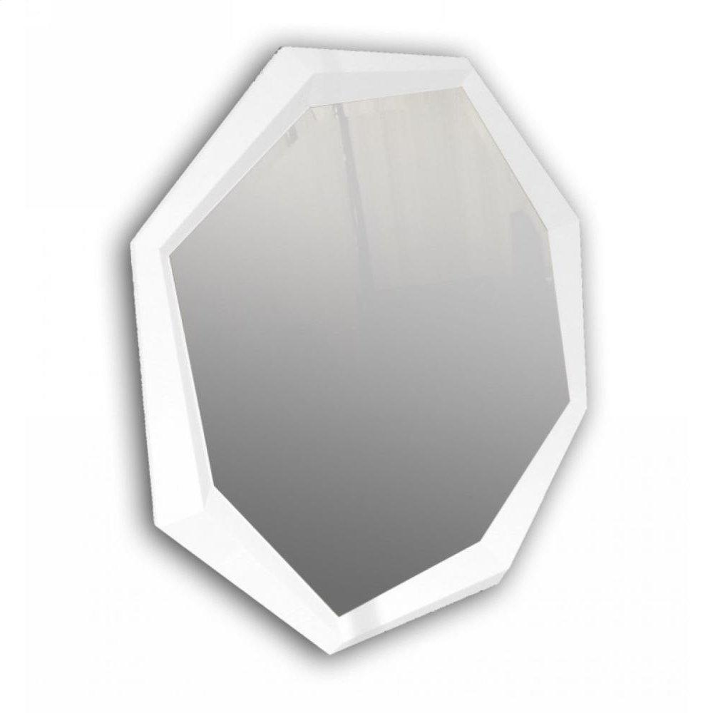A&X Octagon - Modern White Crocodile Lacquer Mirror