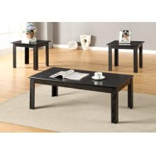 3PC BLACK PARQUET COFFEE & END SET