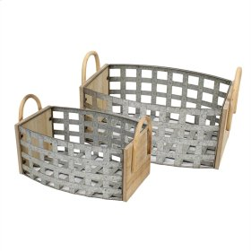 S/2 Tin & Wood Woven Baskets, Gray