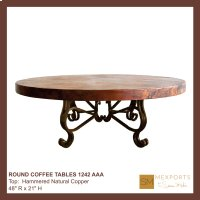 Round Coffee Table Iron Base Chocolate Finish Copper Natural Hammered Top Product Image