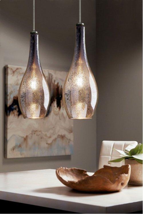 Everly 1 Light Pendant Brushed Nickel with Mercury Glass