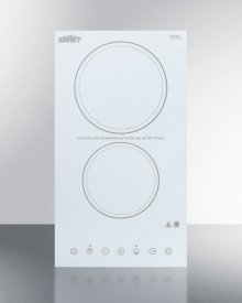 230v 2-burner Cooktop In White Ceramic Schott Glass With Digital Touch Controls, 3000w