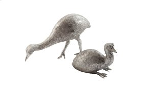 Cassowary Chickens Set of 2, Silver Leaf