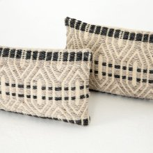 "12x28"" Size Grey Patterned Pillow, Set of 2"