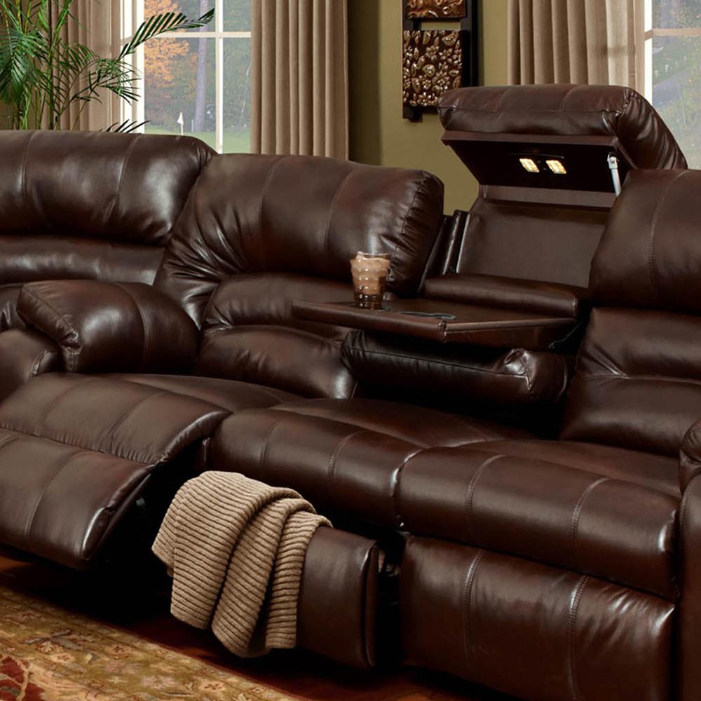 Hidden · Additional Reclining Sofa W/Table U0026 Drawer Storage