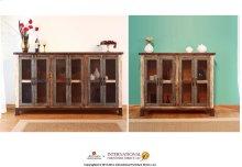 "48"" Console w/4 Iron mesh door panels & Middle shelves"