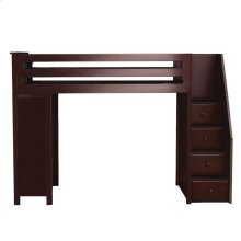 All in One Staircase Loft Bed Study Espresso
