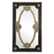 AMBASSADOR LEATHER INLAY FLOOR MIRROR WITH VINTAGE GOLD MOLD ING ACCENTS
