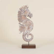 Natural Whitewashed Driftwood Seahorse On Stand