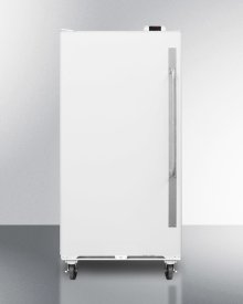 Commercially Approved Large Capacity Upright All-freezer With Frost-free Operation, Digital Thermostat, Casters, Lock, and Left Hand Door Swing\n