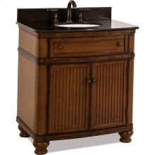 """32"""" vanity with walnut finish and simple bead board doors and curved shape with preassembled top and bowl."""