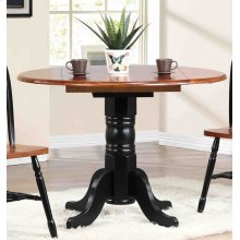 DLU-TPD4242-BCH  Round Drop Leaf Dining Table  Antique Black with Cherry Finish Top