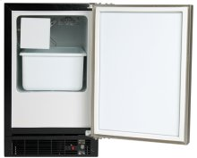 "15"" Marvel Compact Crescent Ice Machine, Left Hinge, Black cabinet, STAINLESS full wrap door and bar handle"