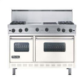 "Cotton White 48"" Open Burner Commercial Depth Range - VGRC (48"" wide, four burners 12"" wide griddle/simmer plate 12"" wide char-grill)"
