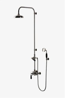 """Easton Classic Exposed Thermostatic System with 8"""" Shower Rose with Black Porcelain Lever Handle STYLE: EAXS34"""
