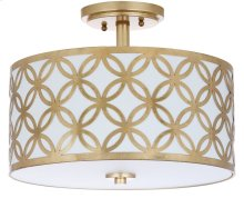 Cecily Leaf Trellis 3 Light 15-inch Dia Gold Flush Mount - Gold Shade Color: Off-White