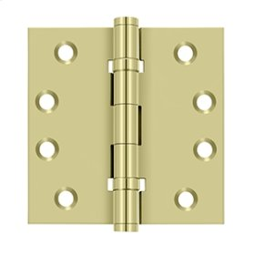 """4""""x 4"""" Square Hinges, Ball Bearings - Unlacquered Brass"""