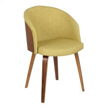Armen Living Alpine Mid-Century Dining Chair in Green Fabric with Walnut Wood