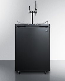 Dual Tap Coffee Dispenser In Black, With A Combination Nitro/flat Coffee Tap Kit In Stainless Steel