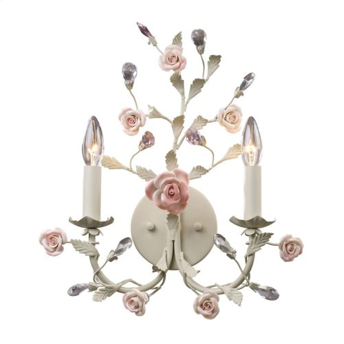 Heritage 2-Light Wall Lamp in Cream with Porcelain Roses and Crystal