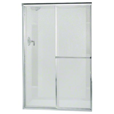 "Deluxe Sliding Shower Door - Height 65-1/2"", Max. Opening 51-1/2"" - Silver with Pebbled Glass Texture"