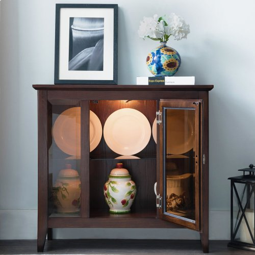 Chocolate Oak Entryway Curio Cabinet with Interior Light #10000-CH