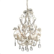 Large White Rose Beaded Chandelier. 25W Max. Plug-in with Hard Wire Kit Included.