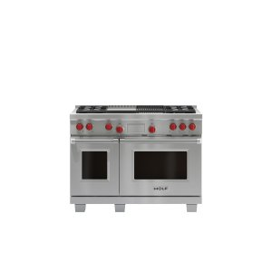 """WOLF48"""" Dual Fuel Range - 4 Burners, Infrared Charbroiler and Infrared Griddle"""