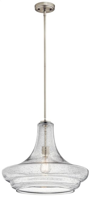 Everly 1 Light Pendant Clear Seeded Glass Brushed Nickel