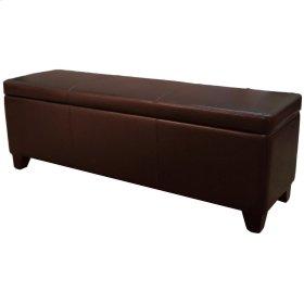 "Luisa Bonded Leather Storage Ottoman 48"", Brown"