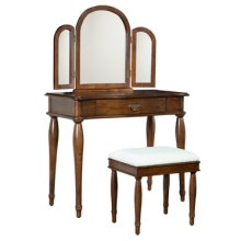 """Dark Hazelnut"" Vanity, Mirror & Bench"