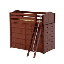 High Loft w/ Angle Ladder, 2 x5 Drawer Dressers & Narrow 5 Drawer Dresser : Twin : Chestnut : Curved