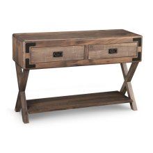Saratoga Sofa Table X Base Ends w/ 2 Drawers & Shelf