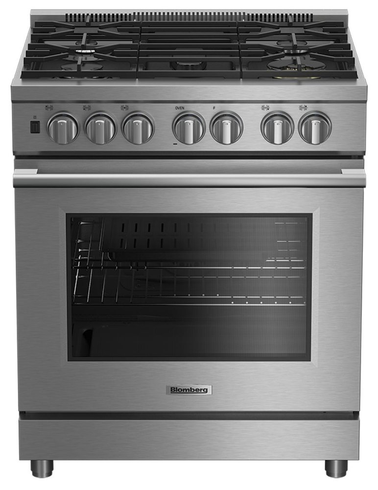 "Blomberg Appliances30"" Pro Induction Stainless Range With 5.7 Cu Ft Self Clean Oven, 4 Burner, Track Light"