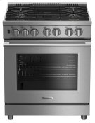 "30"" Pro dual fuel stainless range with 5.7 cu ft self clean oven, 5 burner, track light Product Image"