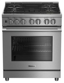 "30"" Pro dual fuel stainless range with 5.7 cu ft self clean oven, 5 burner, track light"